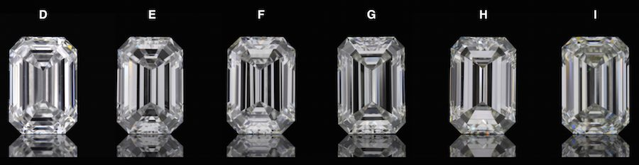 Comparison of emerald cut diamonds color