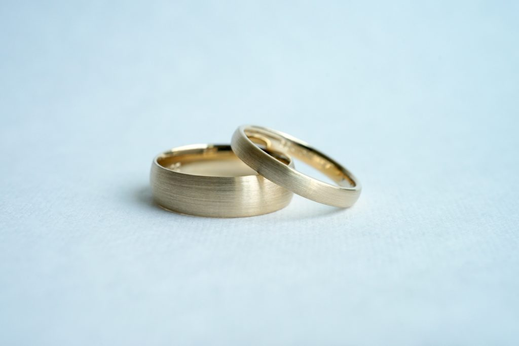 Satin finish men's wedding bands comparison of 2mm and 4mm