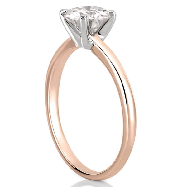 classic comfort fit rose gold solitaire engagement ring
