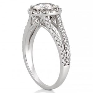 split shank engagement ring with halo in white gold