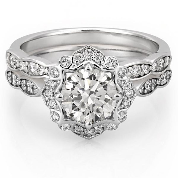engagement ring set with floral halo