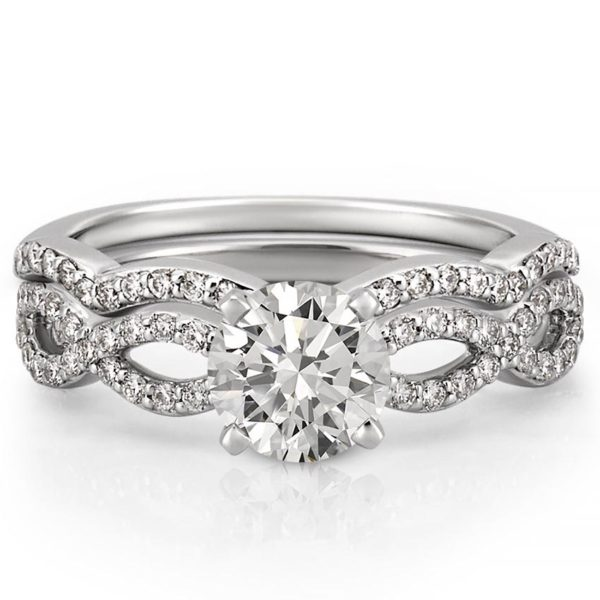 infinity engagement ring set with side diamonds