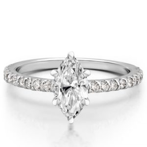 marquise engagement ring with diamonds on band and basket in palladium
