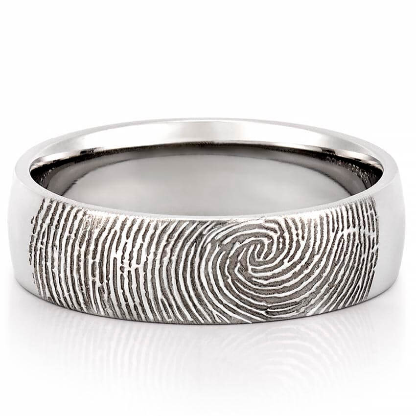 Fingerprint Wedding Band Mens Fingerprint on Outside of Wedding