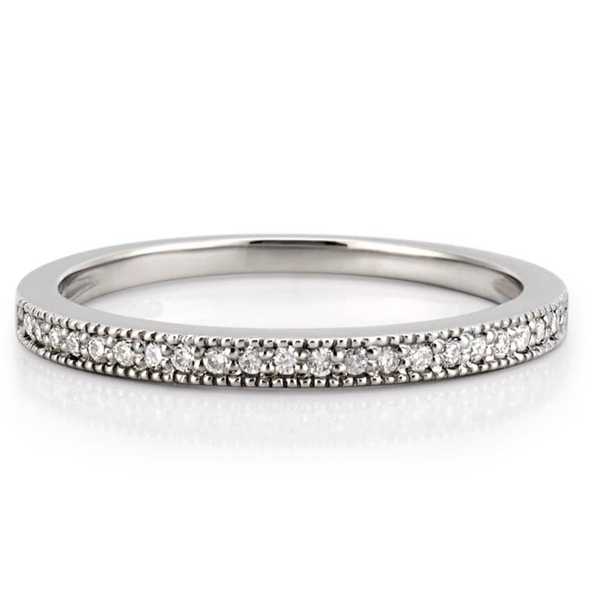 bands band white gold platinum milgrain wedding mens