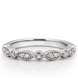 marquise and dot diamond wedding band in platinum