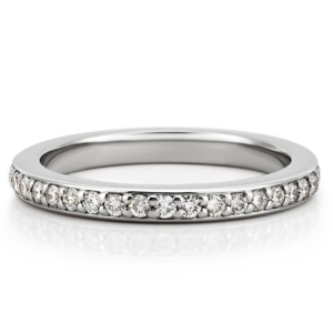 wedding band with pave diamonds in white gold