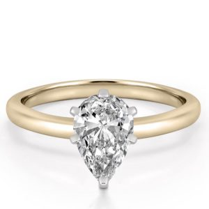 classic yellow gold six prong pear shape solitaire