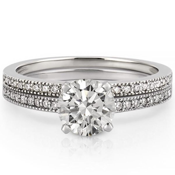 petite milgrain engagement ring set with side diamonds