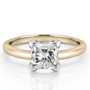 classic yellow gold four prong princess cut solitaire