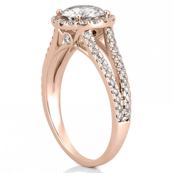split shank engagement ring with halo in rose gold