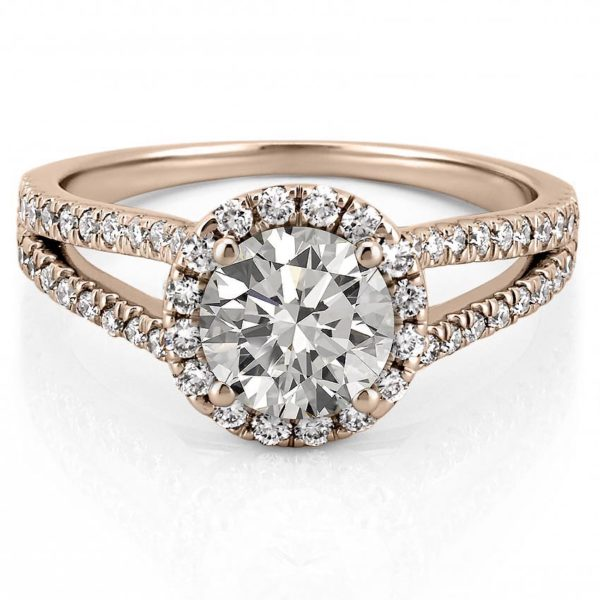 rose gold engagement ring with halo and split shank