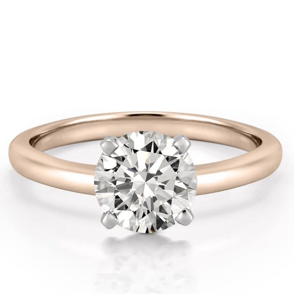 classic rose gold four prong round cut solitaire