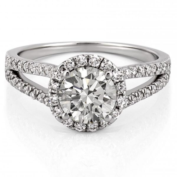 white gold engagement ring with halo and split shank