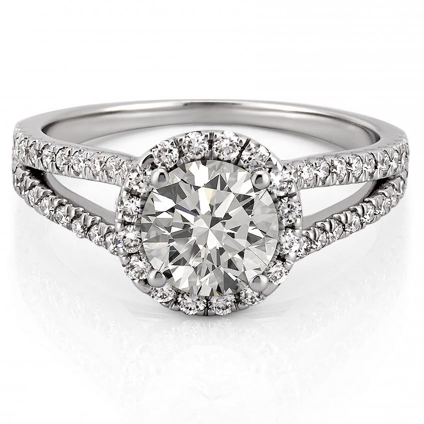 platinum engagement ring with halo and split shank