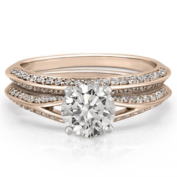 split shank knife edge engagement ring set with side diamonds in rose gold