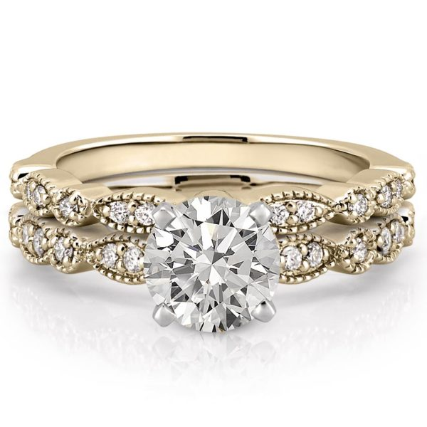 marquise and dot pandora ring set in yellow gold