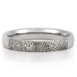 fingerprint engraved wedding band
