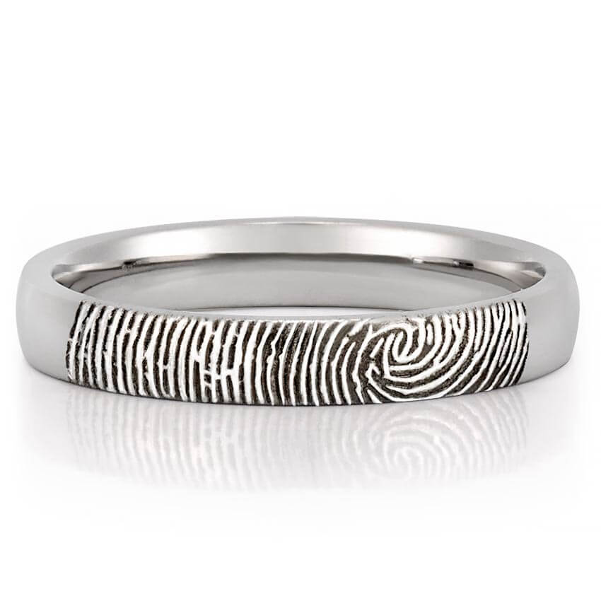 Fingerprint Wedding Band Womens Fingerprint on Outside of Wedding
