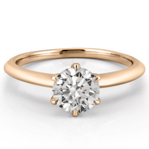 yellow gold six prong solitaire with claw prongs