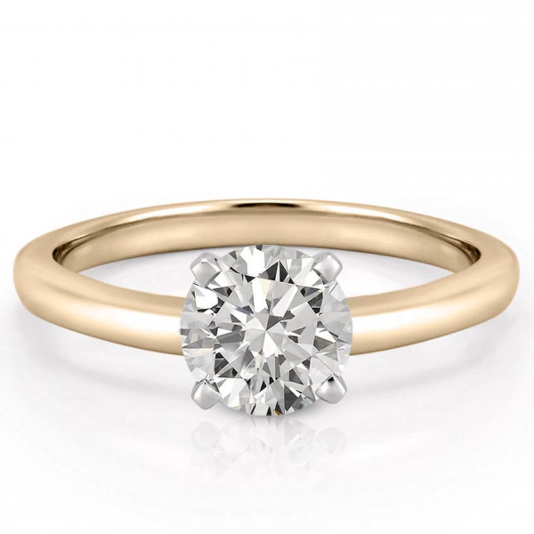 classic yellow gold four prong round solitaire