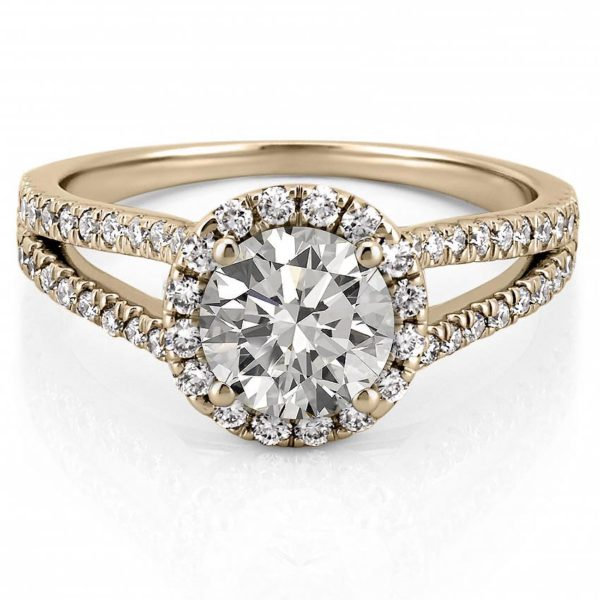 yellow gold engagement ring with halo and split shank