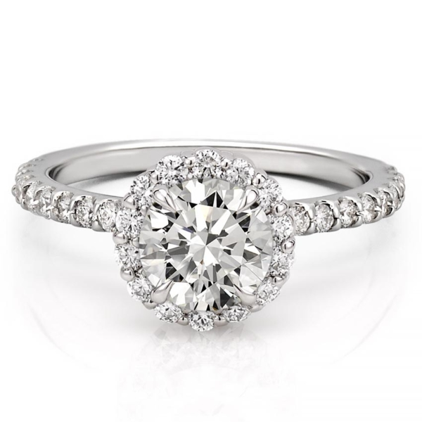 a scalloped halo engagement ring