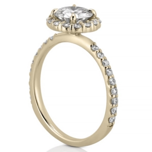 yellow gold scalloped halo engagement ring