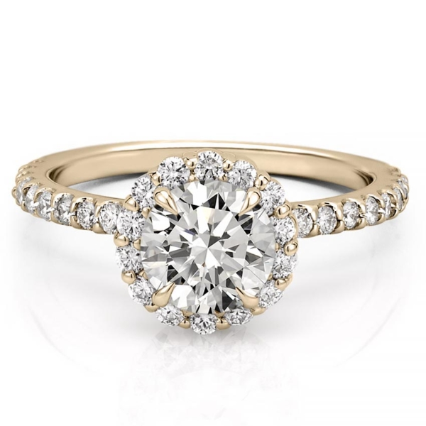a scalloped halo engagement ring in yellow gold