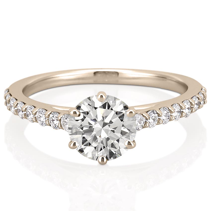 rose gold cathedral engagement ring with 6 prongs