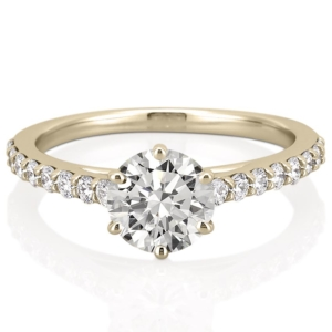 yellow gold cathedral engagement ring with 6 prongs