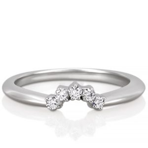 curved diamond wedding band in tiara shape