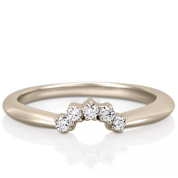rose gold curved diamond wedding band in tiara shape