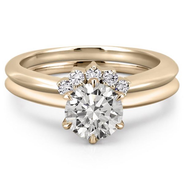 diamond tiara engagement ring set in yellow gold
