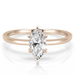 delicate marquise engagement ring with claw prongs in rose gold