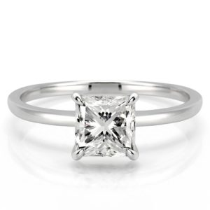 delicate princess cut engagement ring with claw prongs in platinum
