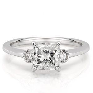 princess engagement ring with three stones and claw prongs