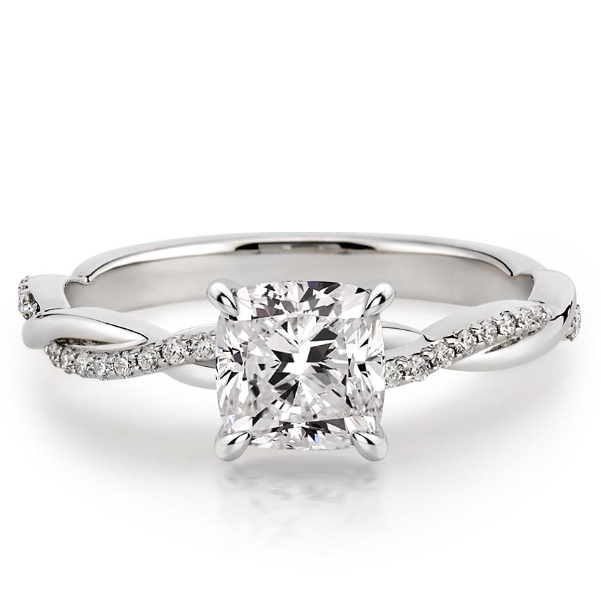 cushion cut twisted vine engagement ring in white gold