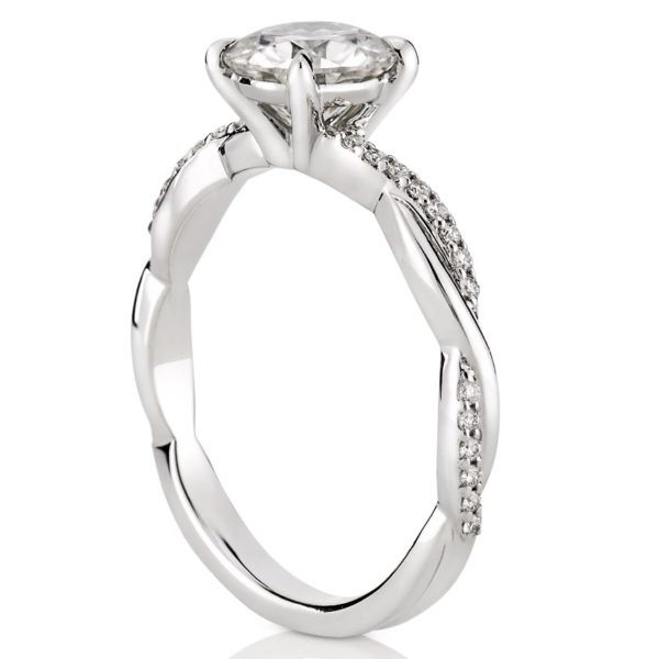 twist band engagement ring with basket