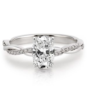 oval twisted vine engagement ring in white gold