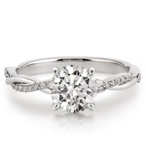 round cut twisted vine engagement ring in white gold