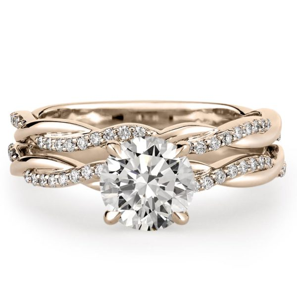 engagement ring with twist and matching twist wedding band