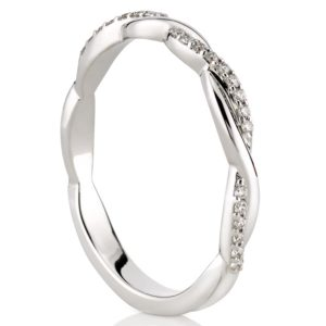 twisted wedding band with pave diamonds