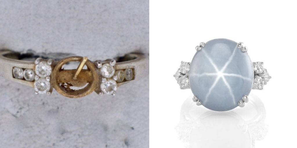 missing pearl center stone compared to star sapphire centerstone