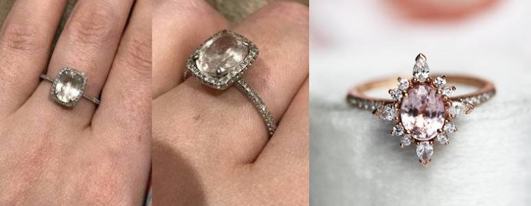 comparison of morganite engagement ring and pink sapphire engagement ring