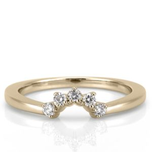 contoured diamond wedding band with crown shape in yellow gold