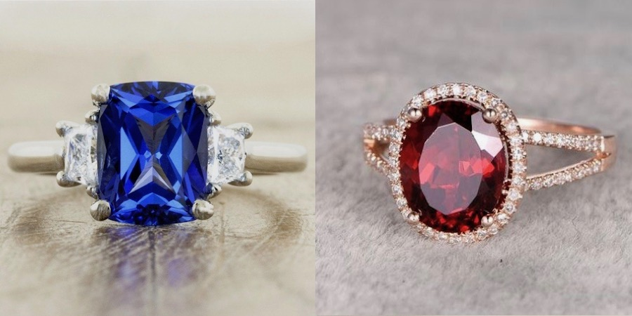 blue three gemstone engagement ring in yellow gold and red engagement ring with halo in rose gold