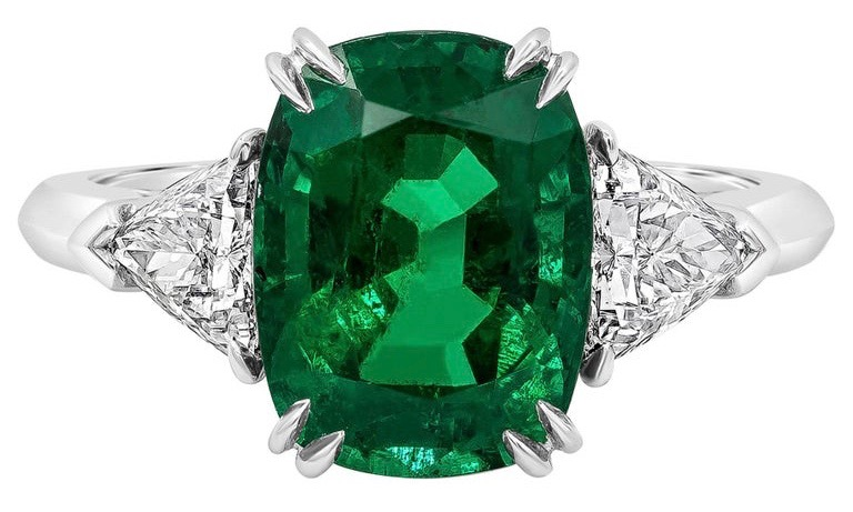 cushion cut emerald engagement ring 7.5 on Mohs Hardness Scale