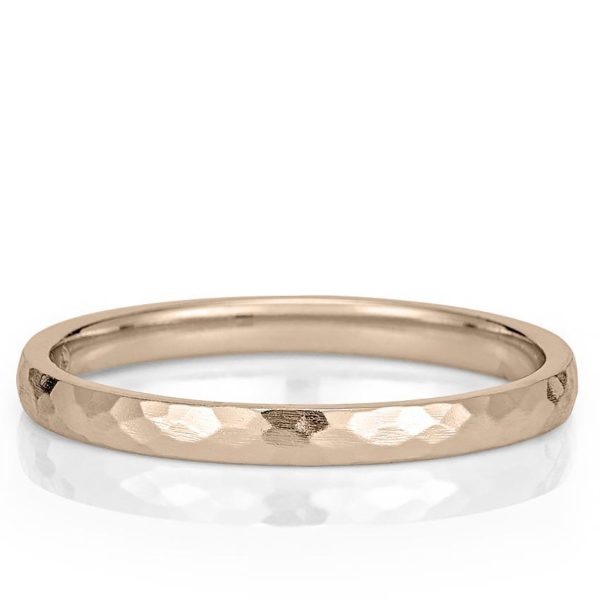 rose gold wedding band with delicate hammered texture