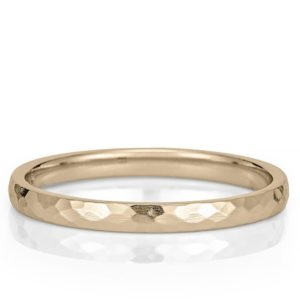 yellow gold wedding band with delicate hammered texture
